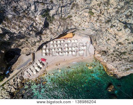 Top View of Paradise Stone Beach in Taormina, Italy