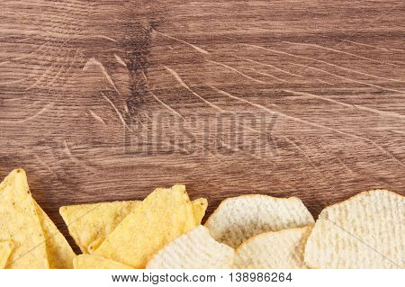 Salted Crisps On Board, Concept Of Unhealthy Food, Copy Space For Text