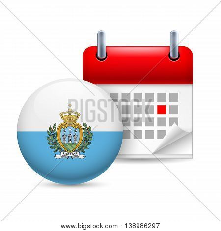 Calendar and round flag icon. National holiday in San Marino