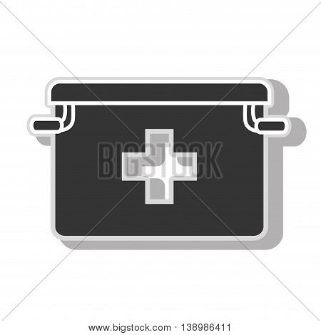 First aids suitcase , isolated black and white flat icon design