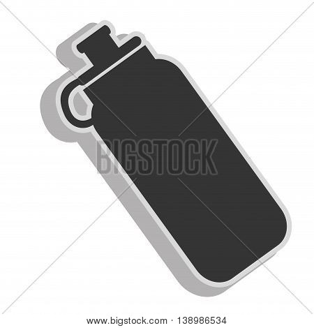 Water bottle object , isolated black and white flat icon design