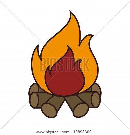 Wood fire flammes , isolated colorful icon design
