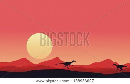 Eoraptor landscape at afternoon vector art illustration
