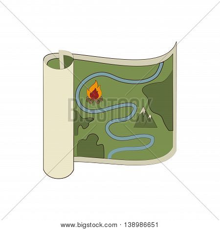 Map orienteering draw , isolated colorful icon design