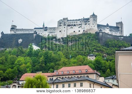 View of Hohensalzburg fortress from miracle Mirabell Garden