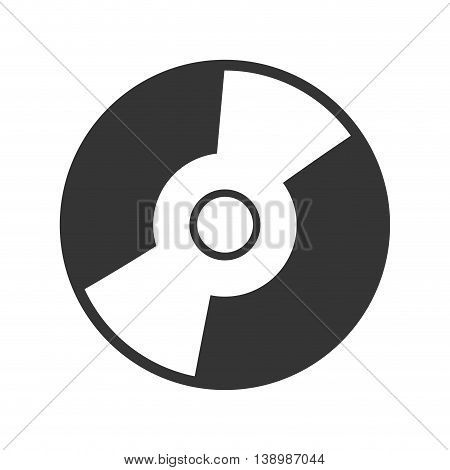 CD music , isolated black and white flat icon design