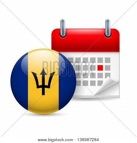 Calendar and round Barbadian flag icon. National holiday in Barbados