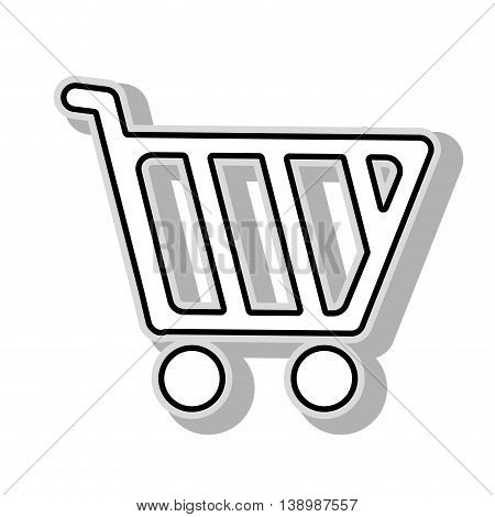 Shopping cart , isolated black and white flat icon design