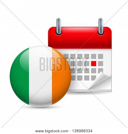 Calendar and round Irish flag icon. National holiday in Ireland