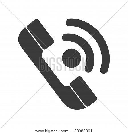 Telephone in black and white colors isolated flat icon, vector illustration.