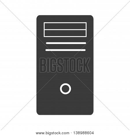 CPU computer tower, isolated flat icon design