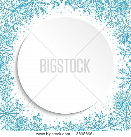 Nice frame with arabesques and snowflakes. Fine blue and white greeting card