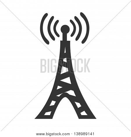 Communication antenna in black and white colors isolated flat icon, vector illustration.