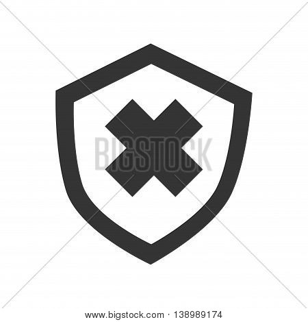 Security badge cross, isolated flat icon design