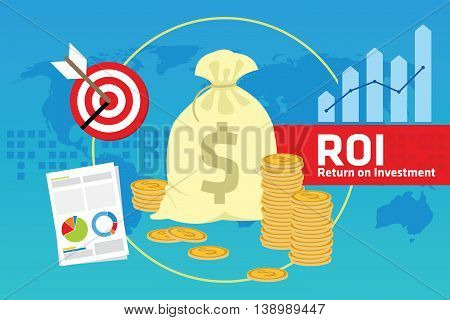 ROI roll of investment vector illustration design concept