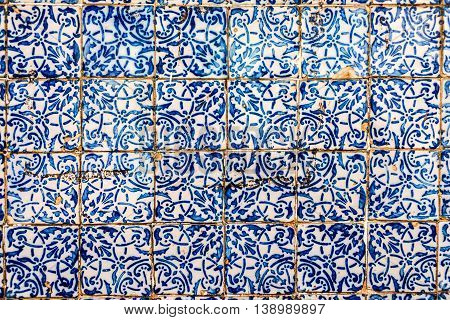 Detail of the traditional Portuguese colonial tiles (azulejos) from facade of old house in Sao Luis Brazil