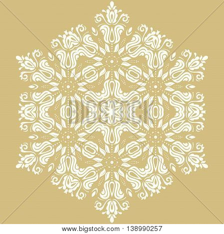 Oriental pattern with arabesques and floral elements. Traditional classic golden and white ornament