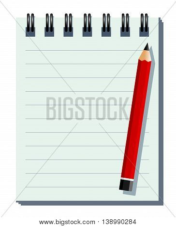 Notebook And Pencil. Vector Illustration Of A Notebook And A Pencil As Background. Global Colors, Separate Layers