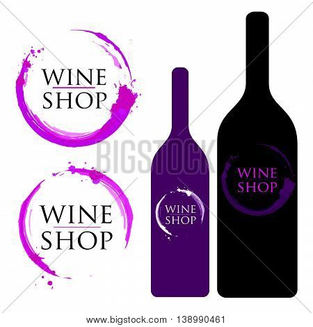 Creative Wine Logo Stain Set. Badges and labels elements for wine made with stains and splashes. Wine Bottle Design.