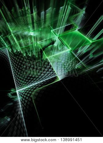 Abstract background element. Fractal graphics series. Three-dimensional composition of intersecting grids. Information technology concept. Green and black colors.