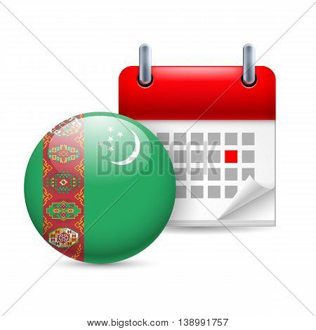 Calendar and round Turkmenian flag icon. National holiday in Turkmenistan