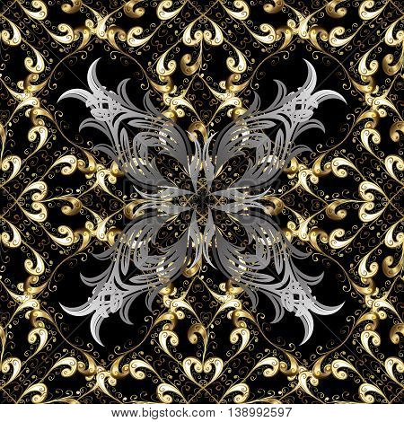 Seamless vintage pattern on black background with golden and silver elements.