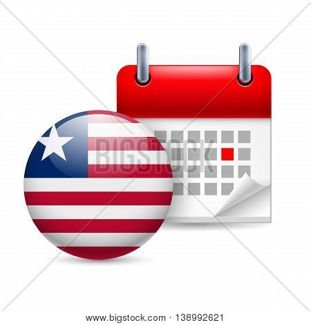 Calendar and round Liberian flag icon. National holiday in Liberia