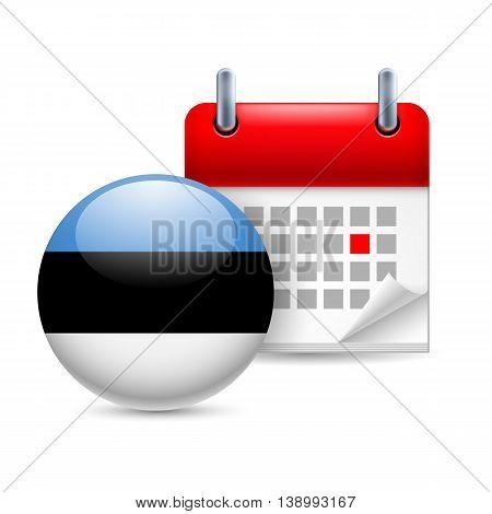Calendar and round Estonian flag icon. National holiday in Estonia