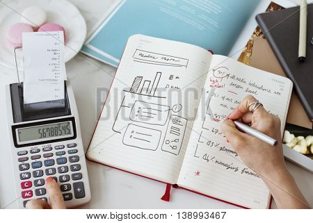 Hand Writing Calculating Strategy Graph Notebook Concept