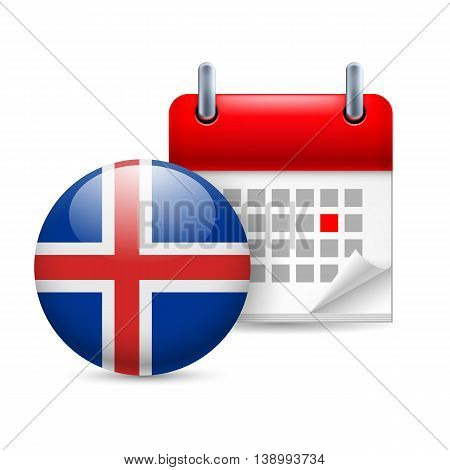 Calendar and round Icelandic flag icon. National holiday in Iceland