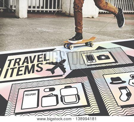 Travel Items Accessories Preparation List Concept