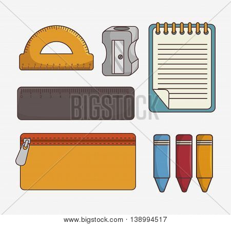set of school supplies isolated icon design, vector illustration  graphic