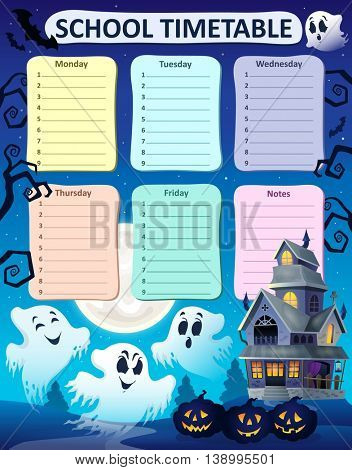 Weekly school timetable composition 9 - eps10 vector illustration.