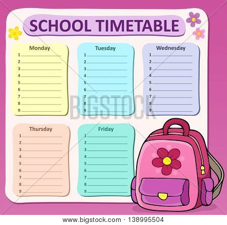 Weekly school timetable composition 8 - eps10 vector illustration.