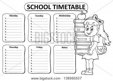 Black and white school timetable theme 3 - eps10 vector illustration.