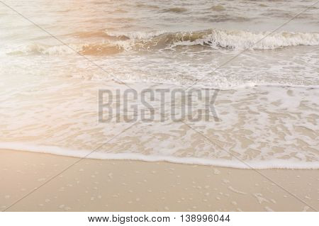 Wave Ripples On Sandy Beach.