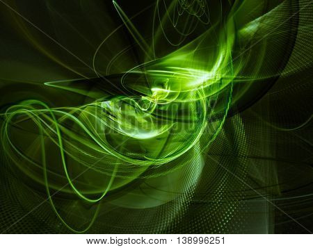 Abstract background element. Fractal graphics series. Three-dimensional composition of glowing lines and halftone effects. Information and energy concept. Green and black colors.