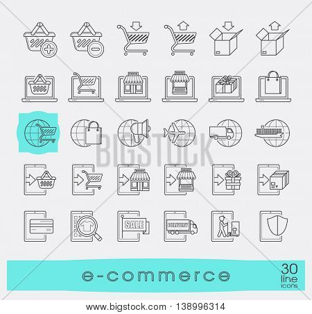 Collection of icons for online shopping. Premium quality line icon set for e-commerce.