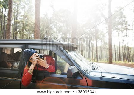 Camping Roadtrip Camera Photographer Holiday Concept