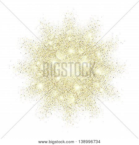 Golden sand explosion vector glamour texture on white background. Gold glitter background. Gold background for card vip exclusive certificate, gift, luxury, privilege, voucher, present, shopping