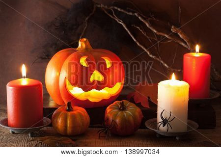 Halloween Jack O Lantern pumpkin decoration spiders candles