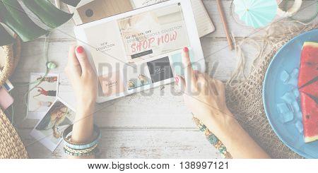 Shop Now Commerce Advertising Consumer Sale Concept