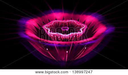 Abstract fractal fantasy magenta single flower.Fractal artwork for creative designflyer cover interior poster.