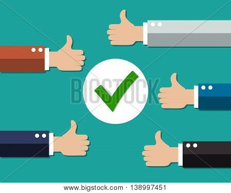 cartoon Businessmans hands hold thumbs up. positive checkmark in center. vector illustration in flat design on green background.