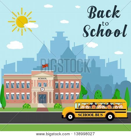 Welcome back to school. School building, bus and front yard with students children with city landscape. Vector illustration in flat style