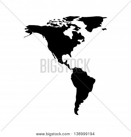American continent silhouette,  isolated vector illustration illustration eps10