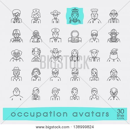 Set of avatar icons. Collection of avatar icons related to professional occupation.