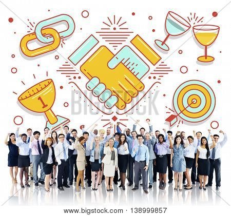 Achievement Success Teamwork Partnership Concept