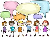 pic of chums  - Illustration of a Group of Kids Talking - JPG