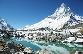 Shivling peak and beautiful lake in Himalayan